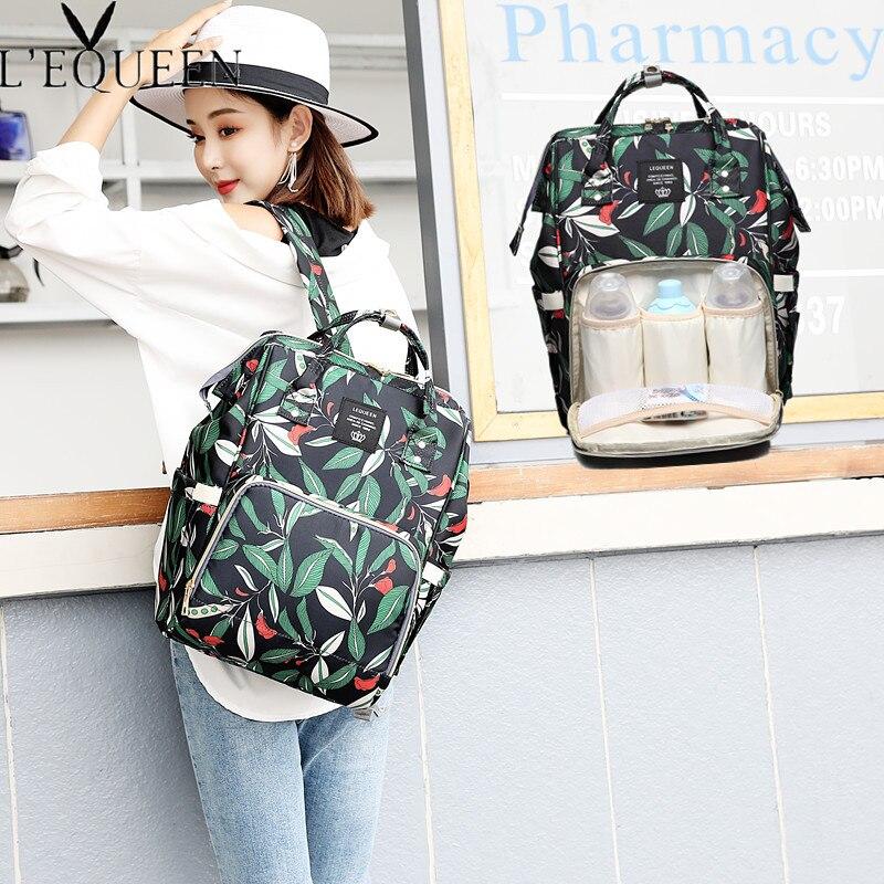 LEQUEEN-sacs à couches imprimés 40cm | Nouveaux sacs à couches mode multi-fonction pour maman, Double Portable voyage extérieur