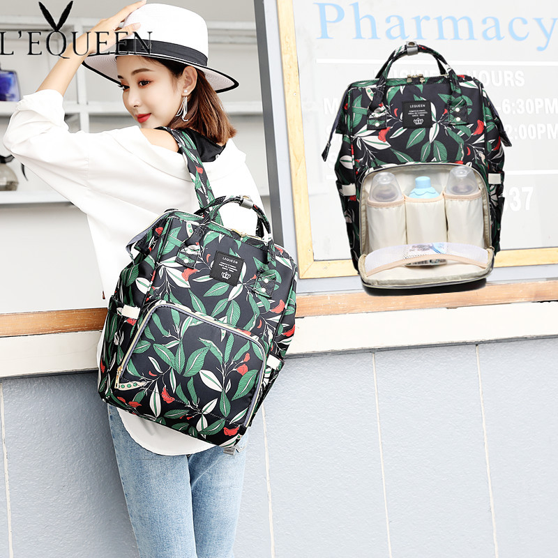 LEQUEEN New Type Printed Diaper Bags Fashion Muti-Function Mummy Nappy Bags Double Portable Outer Travel Backpack 40cm