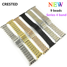 CRESTED 316L Stainless Steel strap For Apple Watch band series 4 44mm 40mm correa iwatch 3 2 1 42mm 38mm wristband bracelet belt