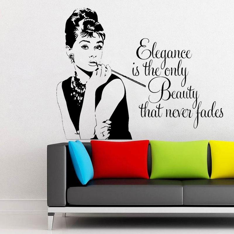 Audrey Hepburn Quote Living Room Teenagers Bedroom Wall Art Sticker Decal Vinyl Home Decor Sofa Removable Wallpaper Mural E536