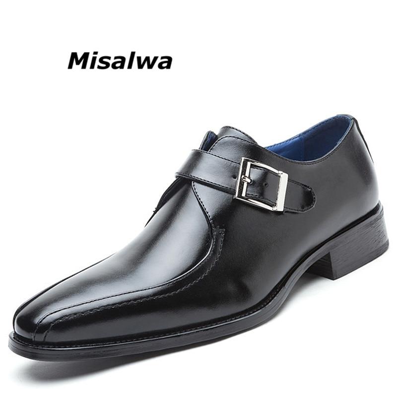 Misalwa Men s Leather Oxfords Single Monk Strap Formal Shoes Slip On Buckle Loafer Plain Toe