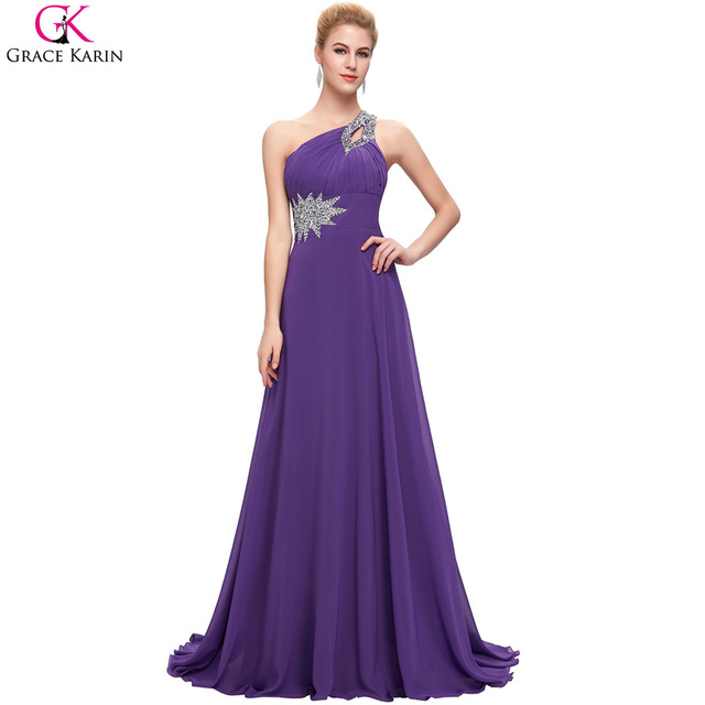 One Shoulder Bridesmaid Dresses Grace Karin Beaded Sequin Chiffon Long Formal Gowns Blue Brides Maid Elegant Wedding Party Dress