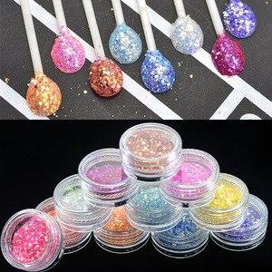 Image 2 - Glitter brilhante para unhas em gel uv, acessório para manicure, pó de glitter e arte para unhas, colorido, benc342, 1 caixa