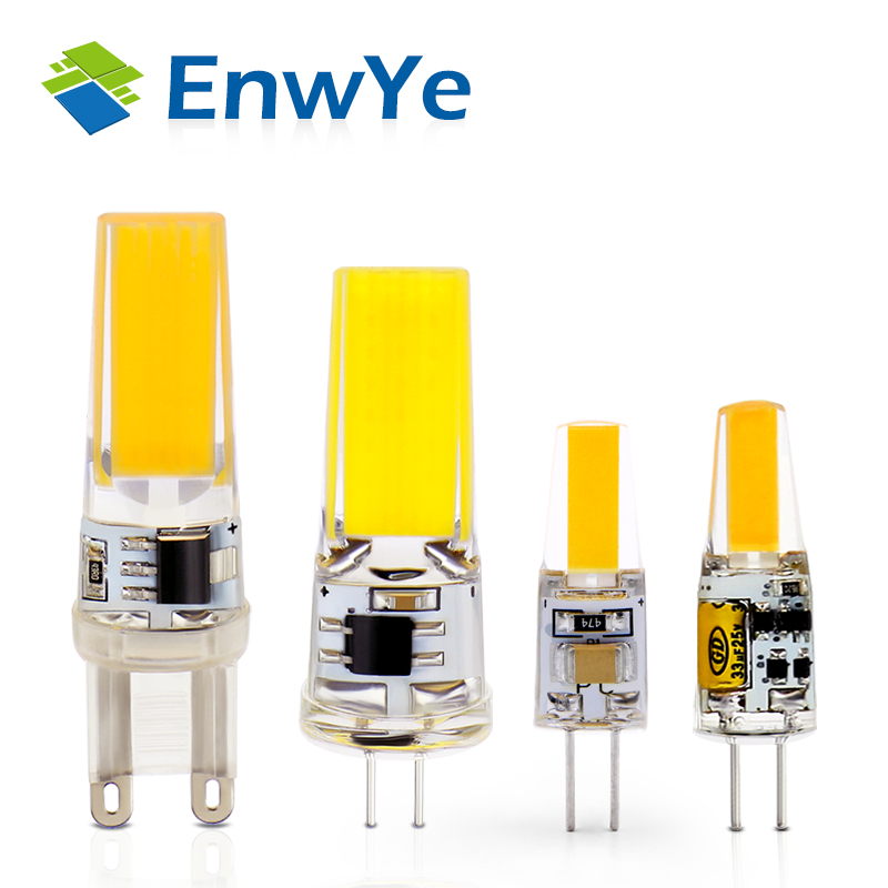 EnwYe LED <font><b>G4</b></font> G9 Lamp Bulb AC/DC Dimming <font><b>12V</b></font> 220V <font><b>3W</b></font> 6W COB SMD LED Lighting Lights replace Halogen Spotlight Chandelier image