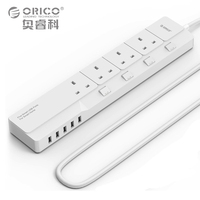 ORICO Home Office UK Surge Protector With 5 USB Charger 4 UK AC Plug Multi Outlet