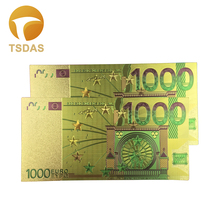10pcs/lot 24K Gold Plated 1000 Euro Banknotes With High Quality Foil Banknote For Home Decoration