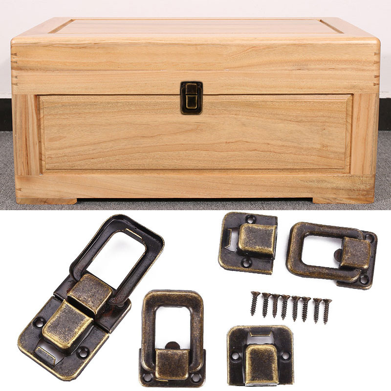 1Pc 25x38mm Antique Brass Box Hasps Metal Lock Catch Latches For Jewelry Chest Box Suitcase Buckle Clasp Vintage Hardware