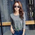 Graphic Tees Women T Shirts Femme 2017 Cotton Print Tshirt Women T-Shirt Womens Long Sleeve Tops Korean Woman Clothes Ropa Mujer