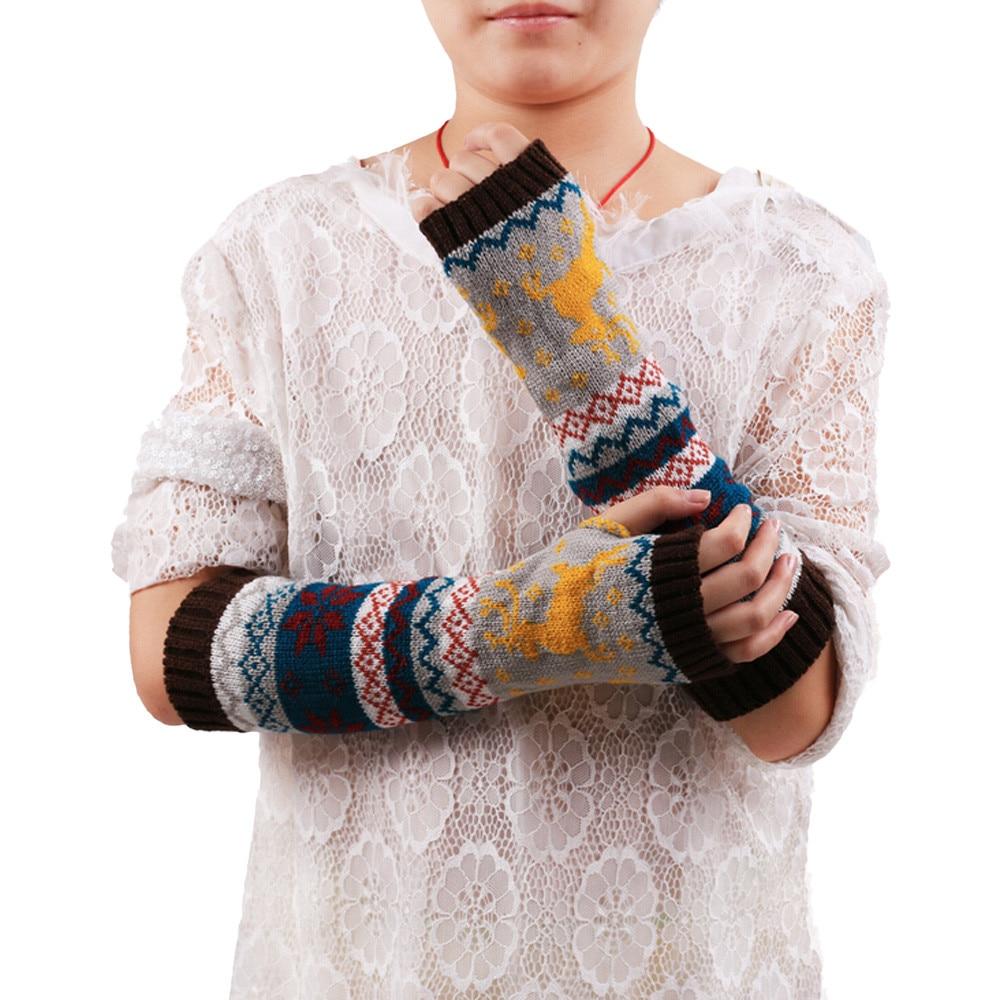 2019 #  FASHION Women Fingerless Knitted Gloves Arm Warmer  Winter  Gloves