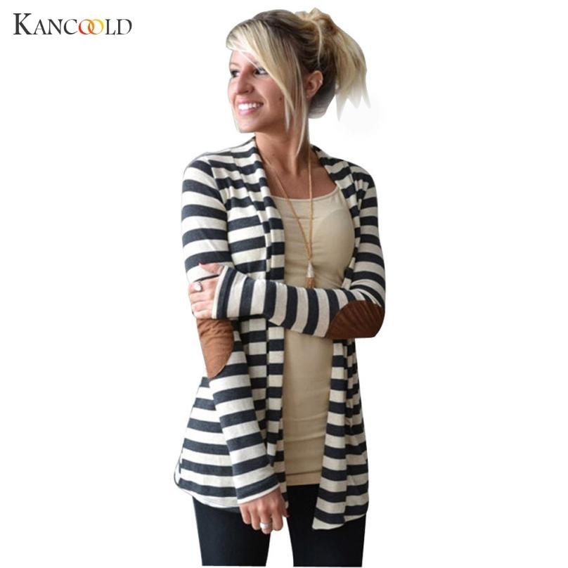 2017 Mode Ytterkläder Kvinnor Långärmad Stripped Casual Strip Patchwork Kvinnor Cardigans Coat Tröja För Kvinnor Chaqueta Oc26
