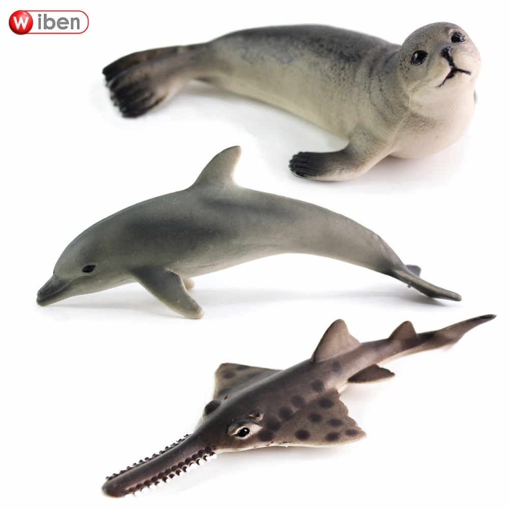 Wiben Hot toys Sea Life Fur seal Oceanic dolphins Sawfish Simulation Animal Model Action & Toy Figures Marine Gift for Boys lps pet shop toys rare black little cat blue eyes animal models patrulla canina action figures kids toys gift cat free shipping