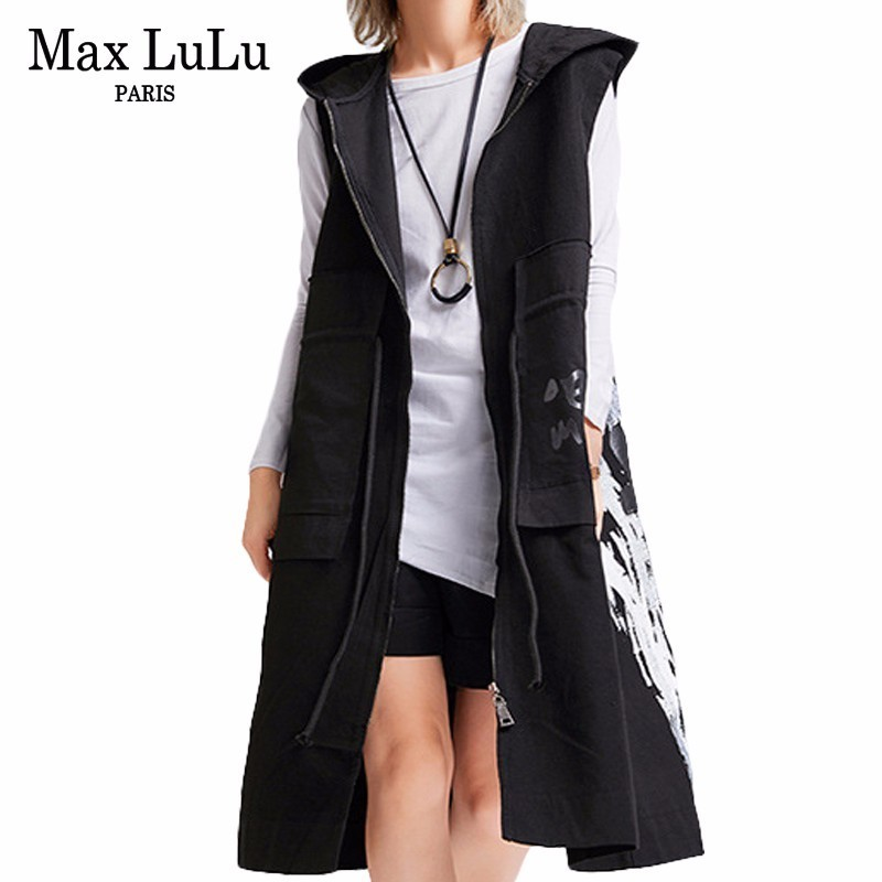 Max LuLu Autumn Fashion Korean Brand Ladies Printed Windbreaker Womens Black Hooded Long Vest Coat Vintage
