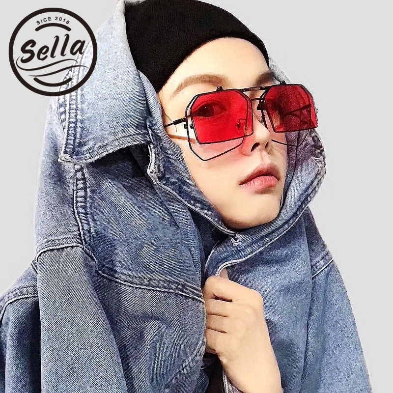 2fa77425ca0 Detail Feedback Questions about Sella Fashion Personality Square Clamshell Sunglasses  Men Women Irregular Alloy Frame Sun Glasses Trending Tint Lens Glass ...