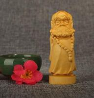 Chinese Patriarch Bodhidharma Buddha Statue Box Wood Carving Wooden Sculpture