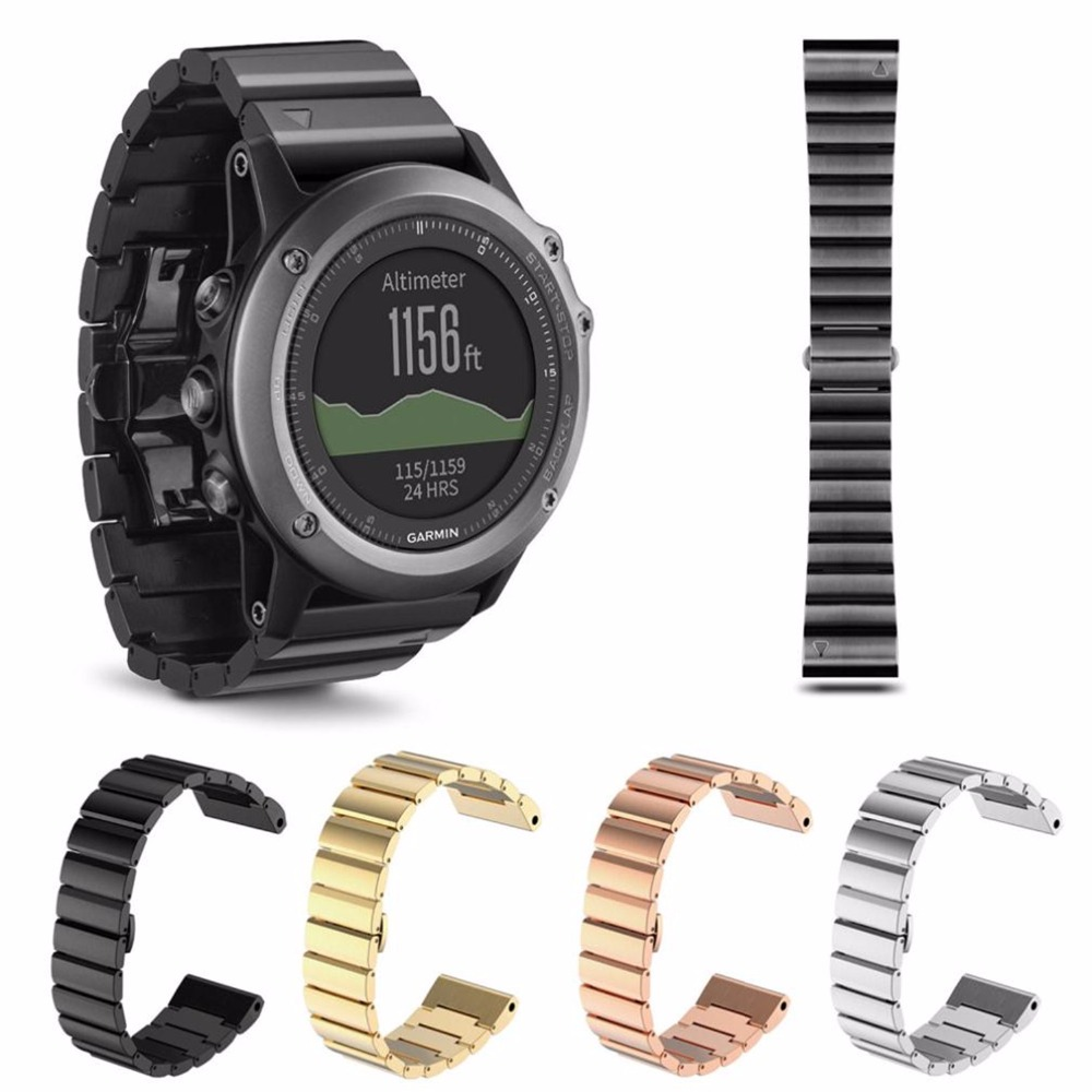 4 Colors 26mm Width Classic Stainless Steel Metal Strap for Garmin Band Metal Band for Garmin Fenix 3 g6 tactical smartwatch