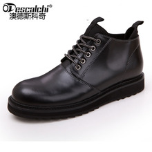 Odescalchi first layer of leather shoes high Top Motorcyle Mens Bots Lace Up Working Warm Boots