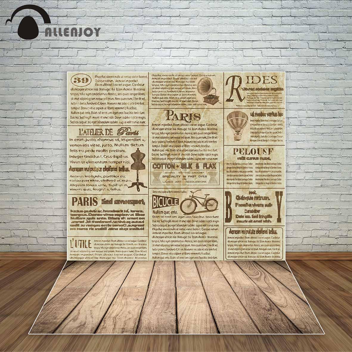 Allenjoy Vieux journal style vintage rétro fond avec plancher en bois cadre cool fonds décorations photographique professionnel
