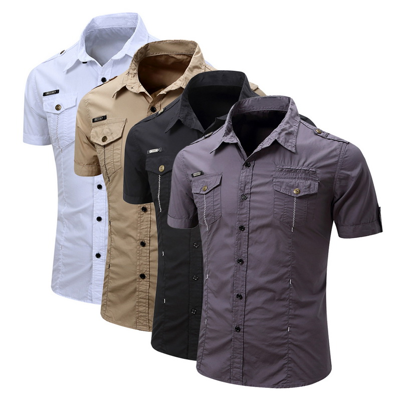 2019 New Summer Military Style Shirt Short Sleeve High Quality Cargo Shirt Cotton Comfortable Solid Color Tops Plus Size 3XL