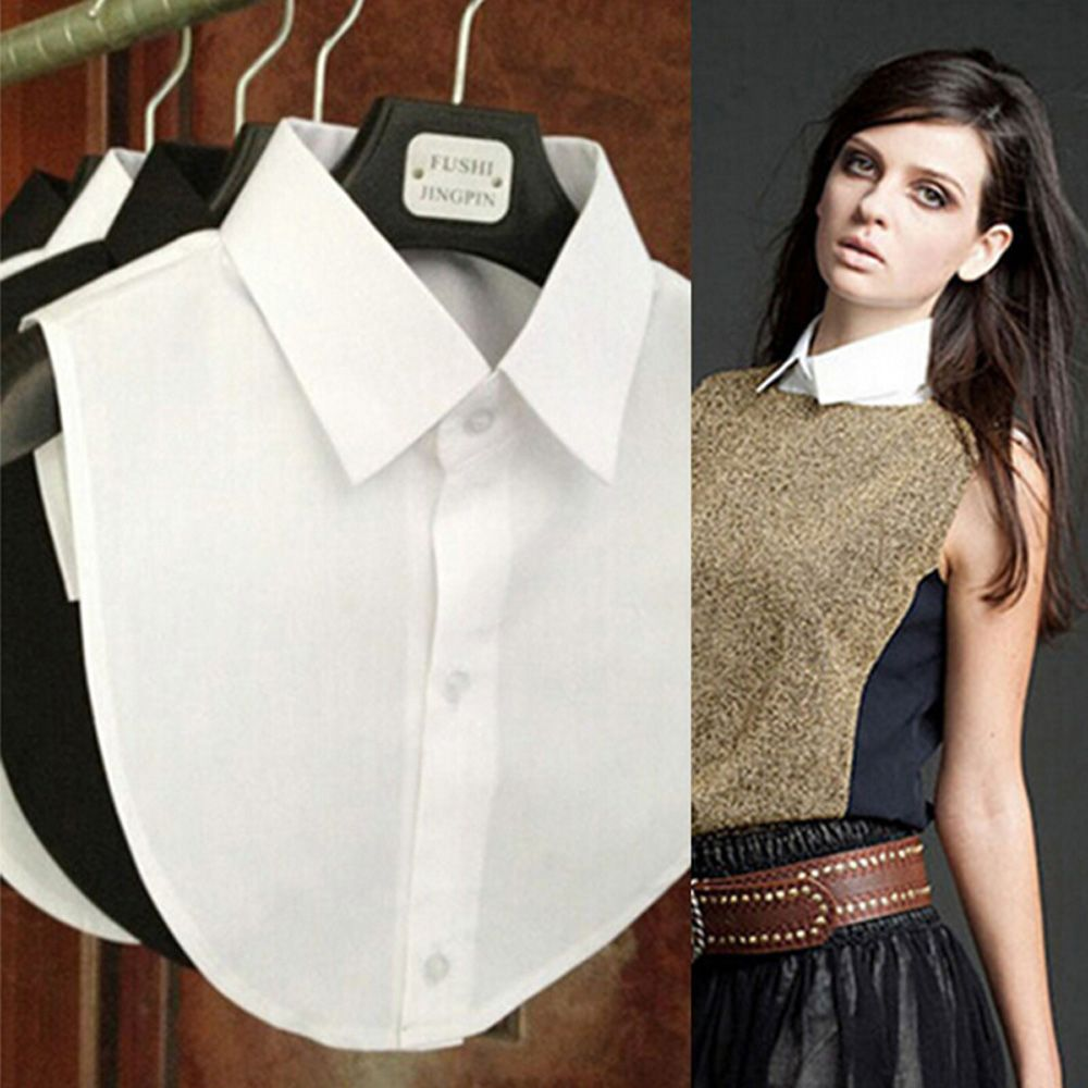 Fashion Shirt Fake Collar White & Black Tie Vintage Detachable Collar False Collar Lapel Blouse Top Women Clothes Accessories