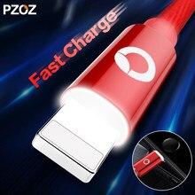 Pzoz cabo de carregamento para iphone, para iphone x, 8, 6s, 7 plus, com luz led, celular adaptador de cabo de telefone, cabo de dados usb