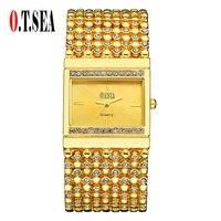 Hot Sale O T SEA Brand Women Men Fashion Crystal Quartz Wrist Watches Ladies Hour Clock