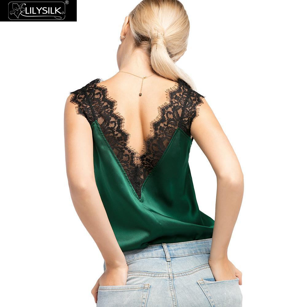 LilySilk Camisole Top Tank Vest Crop for Women Silk Lace Summer Deep V Neck Sexy Pure