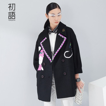 Toyouth Winter Women Blends Wool Coat Turn-down Collar Long Sleeve Mid-length Embroidery Printed Outerwear