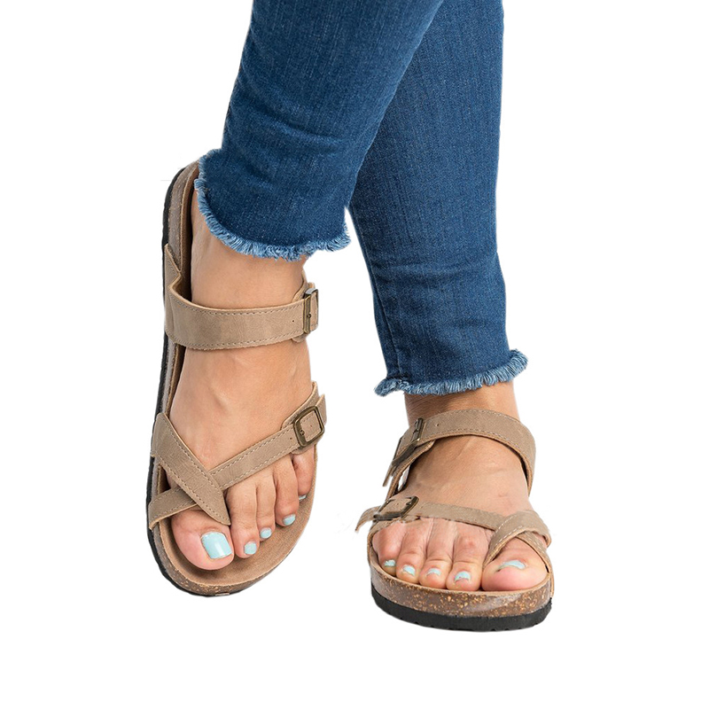Womens Fashion Cork Sandals Casual Summer Gladiator Buckle Clip Toe Shoes Flat Flip-flops Shoes Women Comfortable Sandlas women s shoes 2017 summer new fashion footwear women s air network flat shoes breathable comfortable casual shoes jdt103