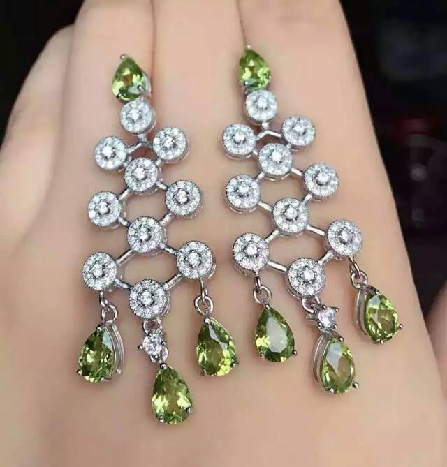 natural olivine drop earrings 925 silver Natural peridot gemstone earring women fashion romantic fine drop earrings for party