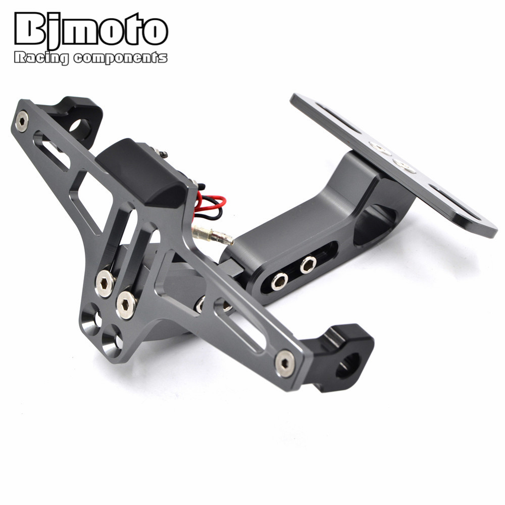 Universal Motorcycle LED light Adjustable Multi-angle Fender Eliminator License Plate Bracket Holder Tidy Tail For Sport Bike for suzuki gsx r600 k6 motorcycle fender eliminator license plate bracket tail tidy tag rear for suzuki gsxr750 k6 2006 2007