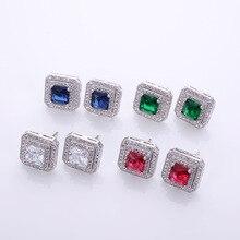hot deal buy square earring s925 silver blue green red earrings zircon fashion earring women jewelry accessories fine new stud earrings