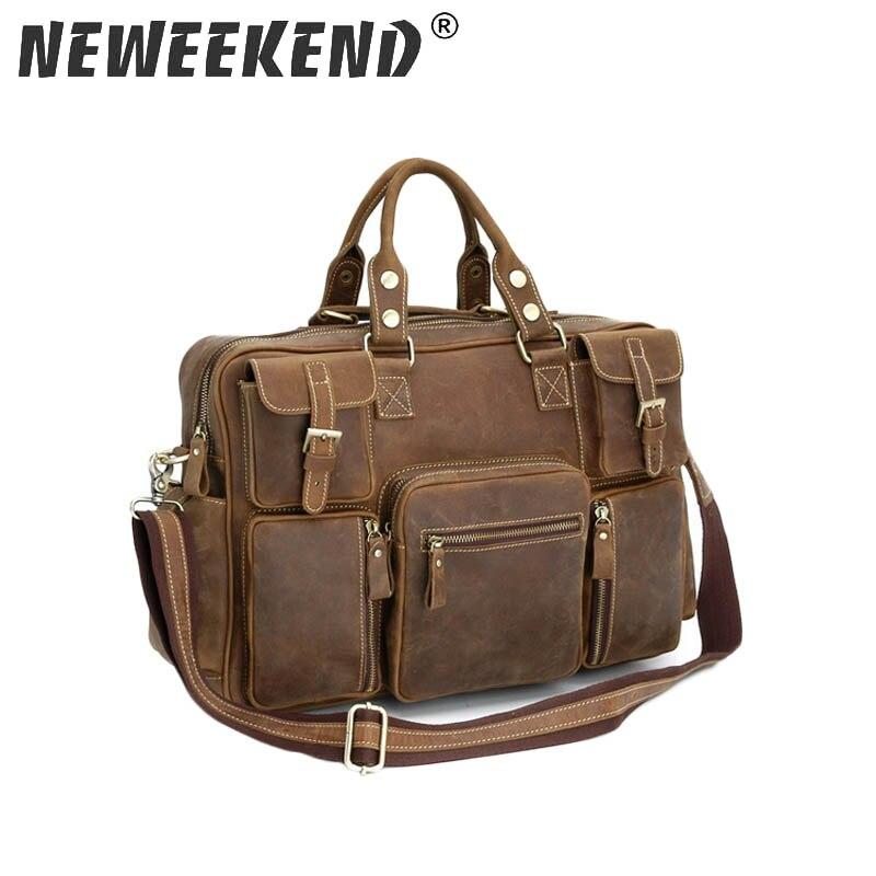 Vintage Crazy Horse Genuine Leather Shoulder Crossbody Travel Bag Men Duffel Luggage Large Laptop Handbag Tote Pockets 3061