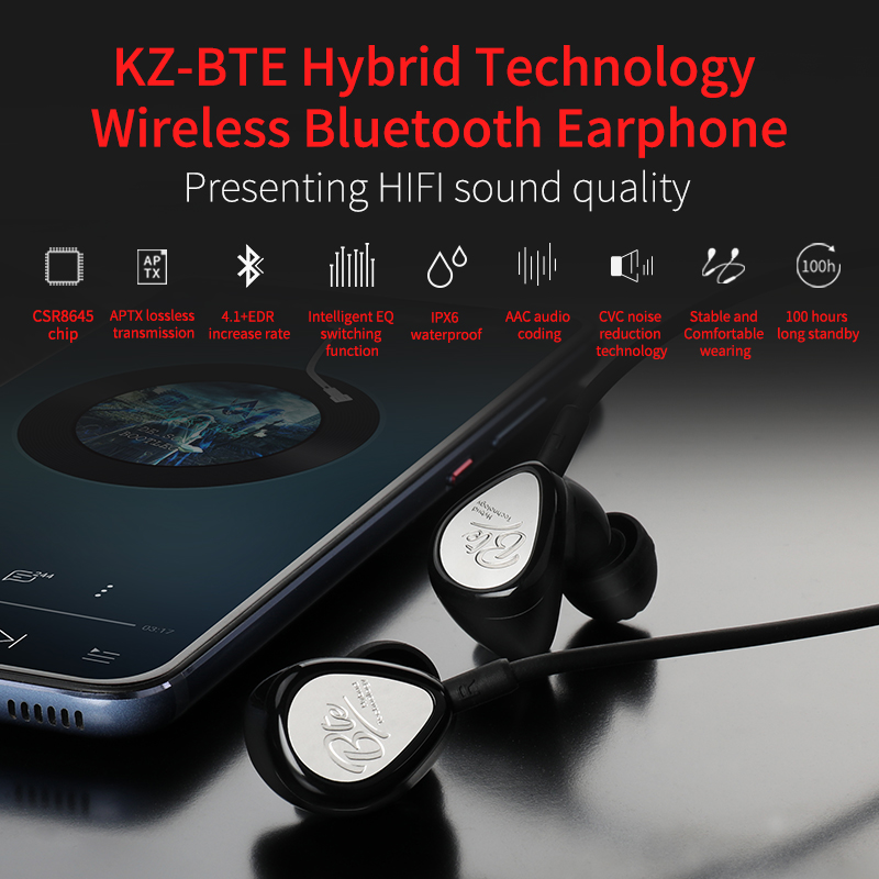 3f411c2755e US $30.0 30% OFF|KZ BTE Hybrid Wireless Bluetooth Earphone hifi Sport  handsfree Earbuds with mic Fone de ouvido For iPhone Samsung Auriculares-in  ...