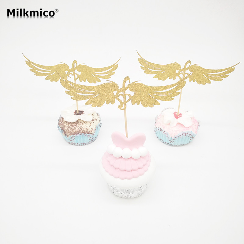 10pcs Glitter Angel's Wing Cupcake Topper Kids Birthday Party Decor Baby Shower Food Picks Cake Decorations Cake Topper Supplies