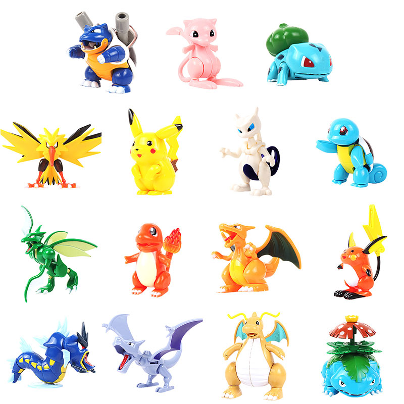 Children's Pikachu Minifigure Action Figures Assembly toys Monster Venusaur Scyther Charizard Dragonite Strike Mewtwo Kids toys