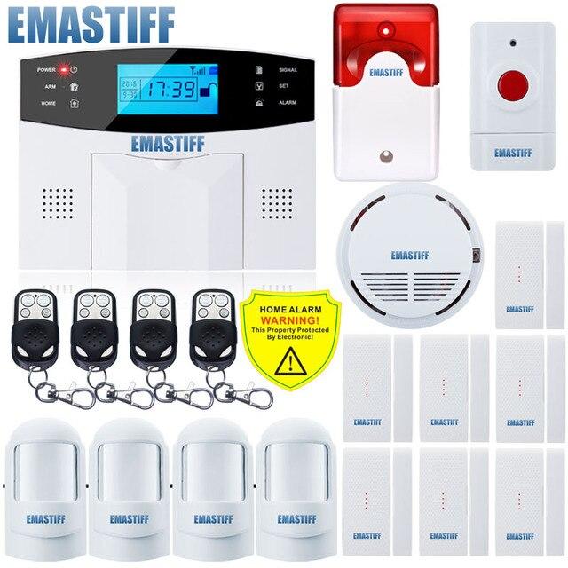 NEW Built-in antenna Door Gap Sensor PIR Motion Detector Wireless LCD GSM SIM card House security Alarm system Smoke Flash Siren