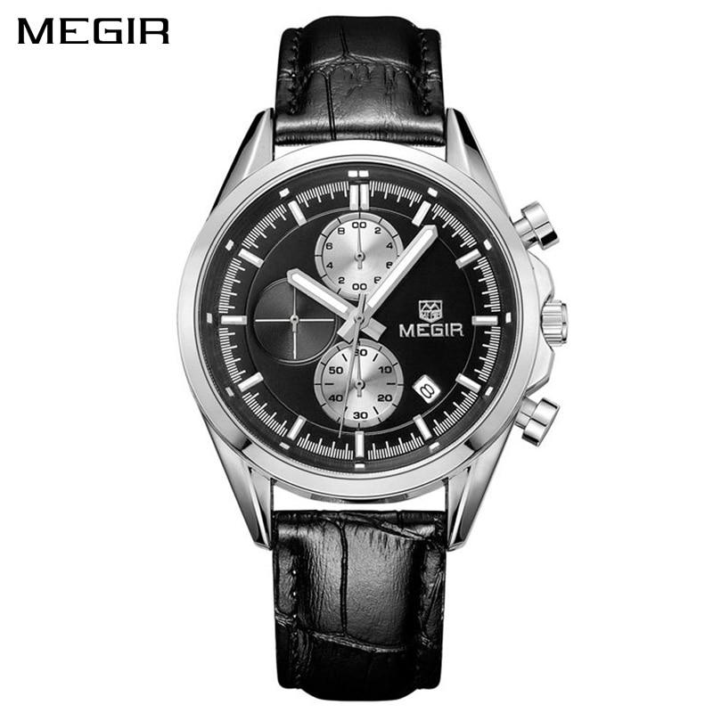 MEGIR Original Quartz Watches Men Chronograph Wristwatches Top Brand Business Leather Men Military Watch Relogio Masculino 5005