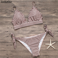 2018 New Bikini Swimwear Women Swimsuit Female Bandage Bathing Suits Bikinis Set Striped Bottom Vintage Solid