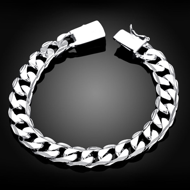 Men S 925 Sterling Silver Bracelet Curb Chain 10mm 8 3 Whole Fashion