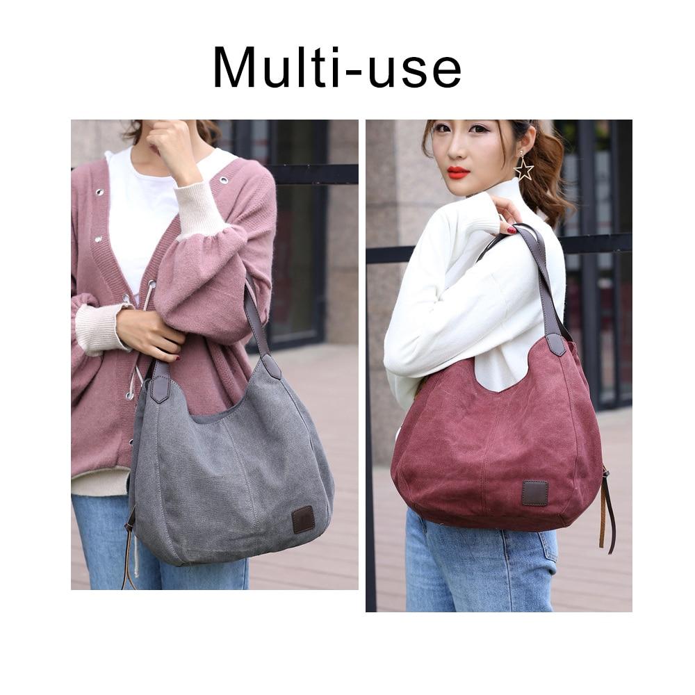 Fashion Women's Multi-pocket Cotton Canvas Handbags Shoulder Bags Totes Purses 1
