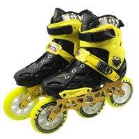 Профессиональный для взрослых роликовых коньках обувь 3*110 мм Сменные слалом Скорость Patines Бесплатная коньки для СЕБА Powerslide пользователя f040