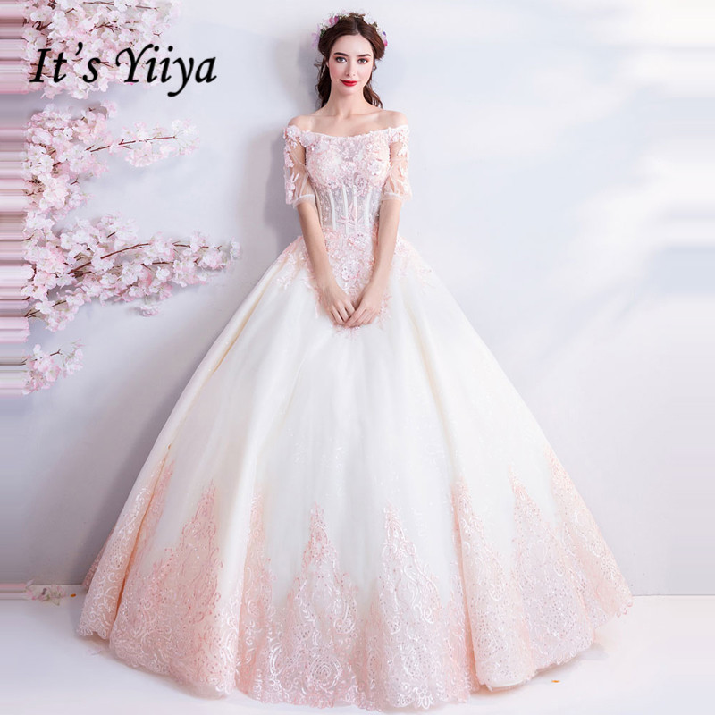 It's YiiYa   Evening     Dress   Embroidery Beading Pearls Shining Wedding Formal   Dresses   Boat Neck Floral Illusion Long Party Gown E185