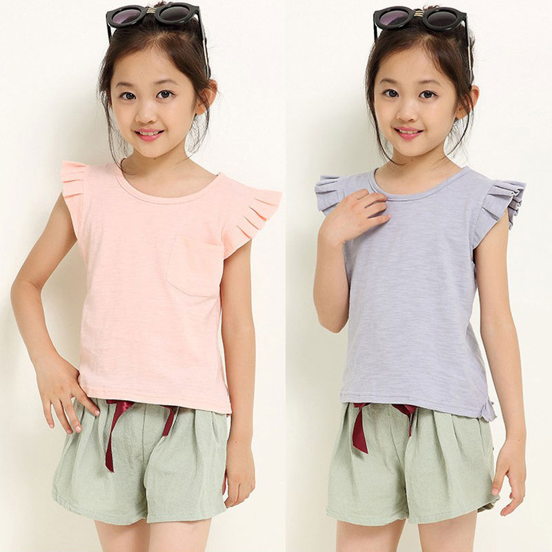 Girls Clothing Set Solid Children Girls Linen Clothes Set Toddler Girl Tops + Pants Girls Suit Kids Clothes