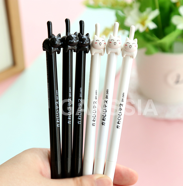 1PC/lot Kawaii cat Gel pen Cute cats click type 0.5mm black ink pens zakka Stationery Canetas escolar school supplies(ss-a962) 2pcs cute panda shape gel pen 0 5mm black ink pen canetas criativa kawaii stationery office school supplies