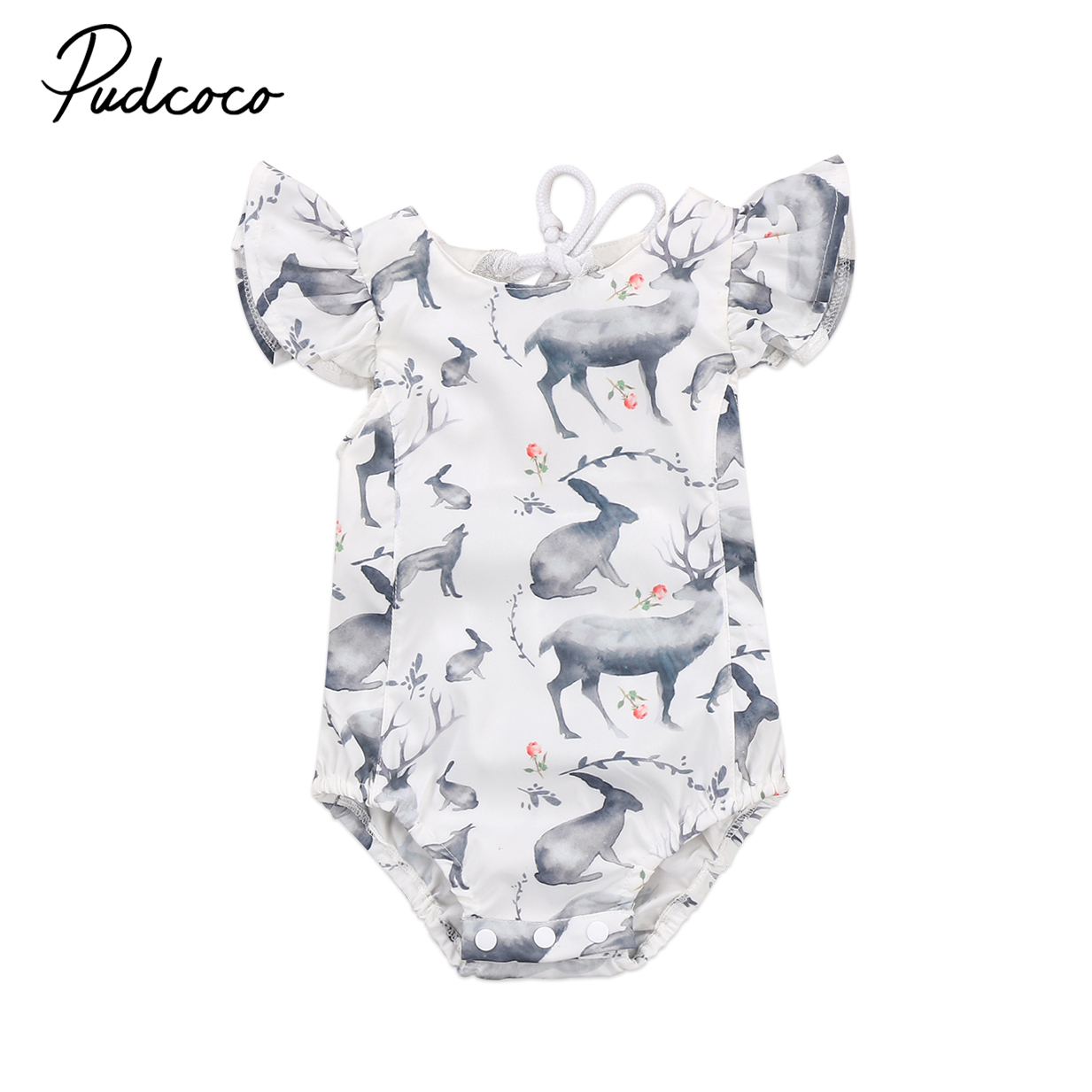 Pudcoco Summer Newborn Baby Girl Animals Deer Romper Jumpsuit Outfit Cotton Backless One-Piece Sunsuit Clothes kawaii shark print newborn baby girls strap romper jumpsuit one piece sunsuit outfit clothes