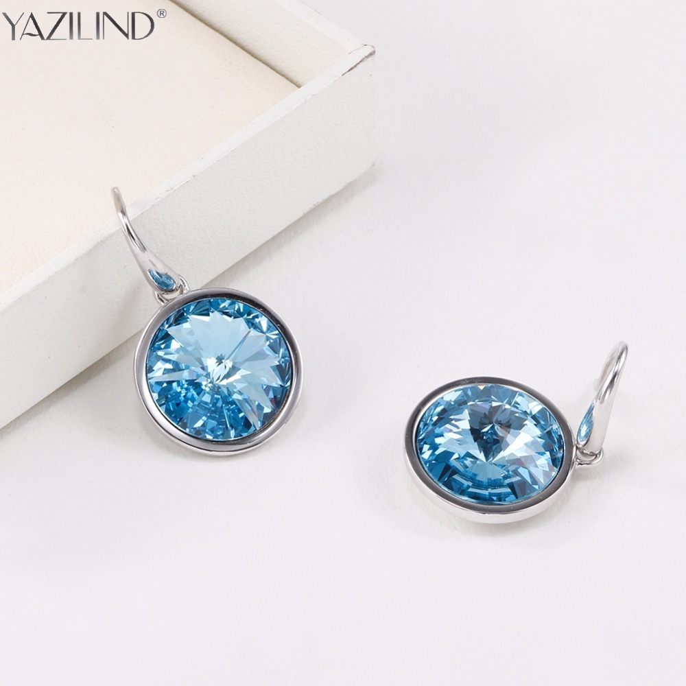 YAZILIND JEWELS Women Silver Stud Earrings 2017 Unique Design Charm Blue Crystal Earrings Jewelry Special Gift for Best One