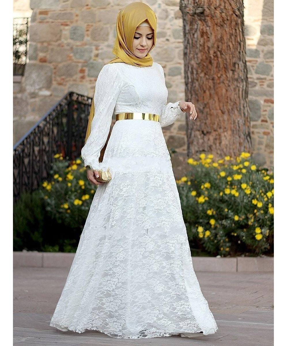Cecelle 2016 LongSleeve Muslim Lace Islamic Wedding Dresses high neck A-line Modest Vintage bridal gowns robe de mariee