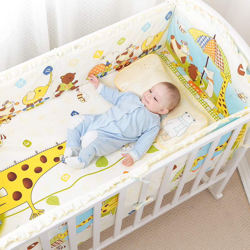 5Pcs Cotton Baby Cot Bedding Set Newborn Cartoon Baby Crib Bedding Set Detachable Cot Bed Linen 4 Bed Bumpers+1 Sheet 7 Sizes