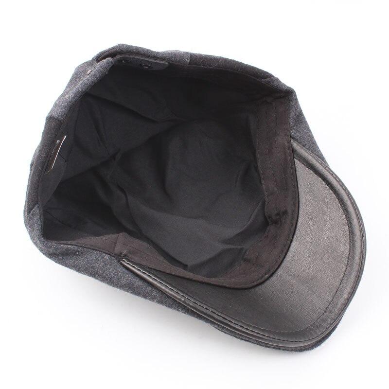Cuero de vaca Real gorra plana hombres Otoño Invierno Beret ajustable suave  transpirable Cabbie Newsboy Hat 77baa51f5b2