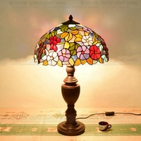 40cm Flesh Country Flowers Tiffany Table Lamp Country Style Stained Glass Lamp for Bedroom Bedside Lamp E27 110 240V